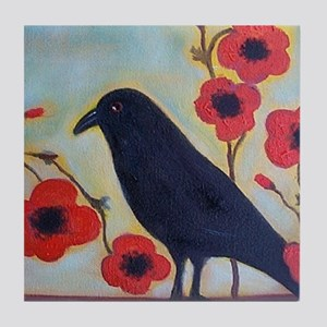 Crow and Poppies Tile Coaster
