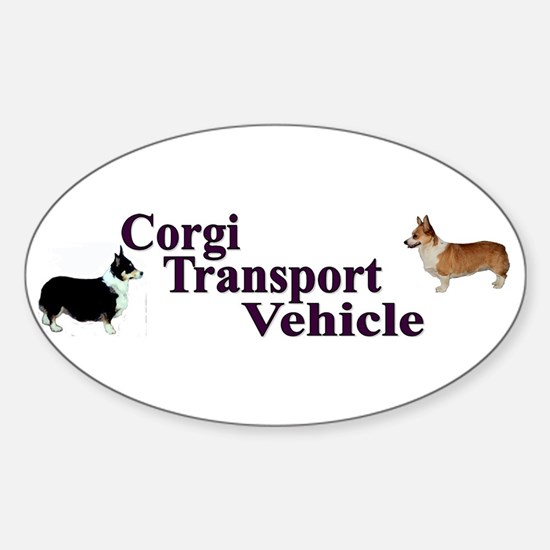 Corgi Tranportation Vehicle Sticker (Oval)