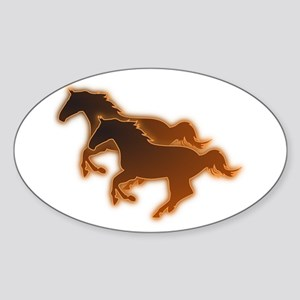 Two Horses Sticker (Oval)