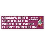 Printed on Bumper Sticker 10 pk