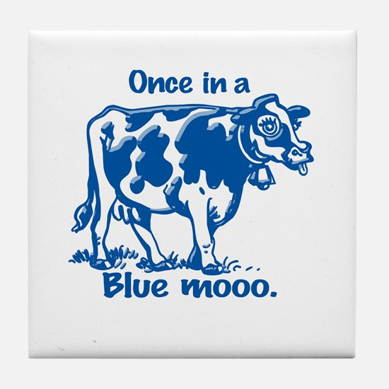 Once in a Blue moo Cow Tile Coaster