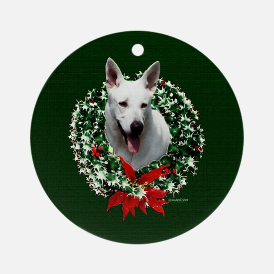 White Shepherd Ornament (Round)