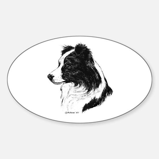 Border Collie Sticker (Oval)