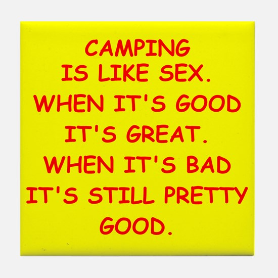 i love camping Tile Coaster