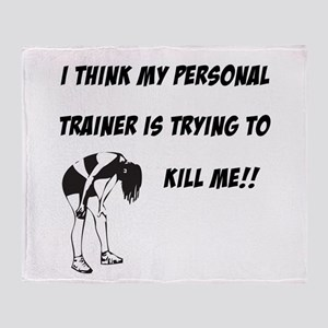 Trainer trying to kill me Throw Blanket