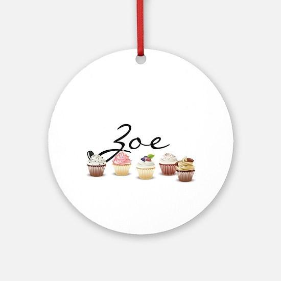 Cupcake Zoe Ornament (Round)