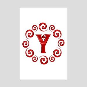 Red Y Monogram Mini Poster Print