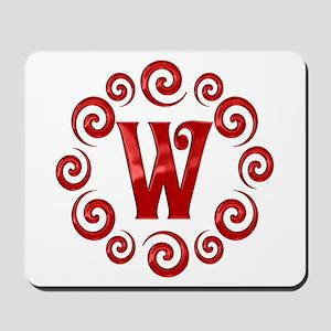 Red W Monogram Mousepad
