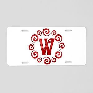 Red W Monogram Aluminum License Plate