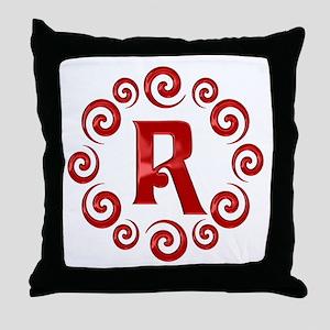 Red R Monogram Throw Pillow