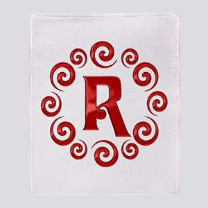 Red R Monogram Throw Blanket