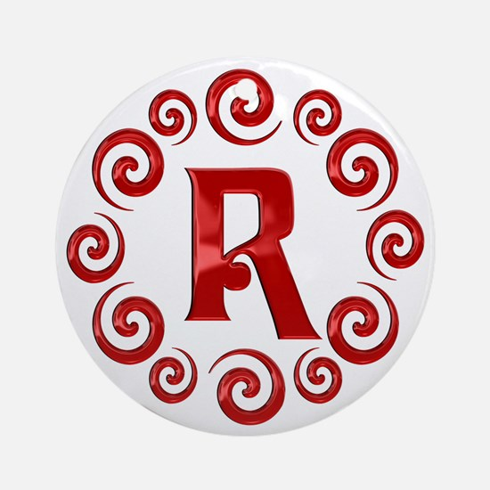 Red R Monogram Ornament (Round)