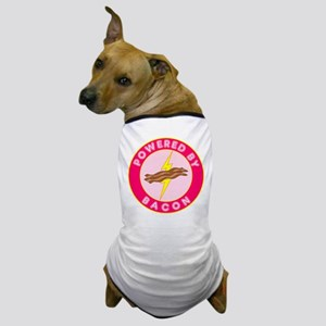 Powered By Bacon (Pink) Dog T-Shirt