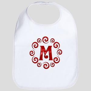 Red M Monogram Bib