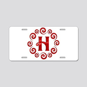Red H Monogram Aluminum License Plate