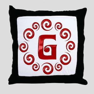 Red G Monogram Throw Pillow