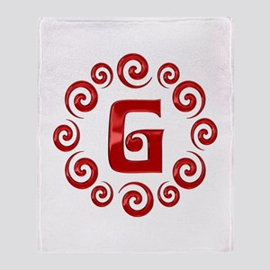 Red G Monogram Throw Blanket