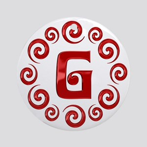 Red G Monogram Ornament (Round)