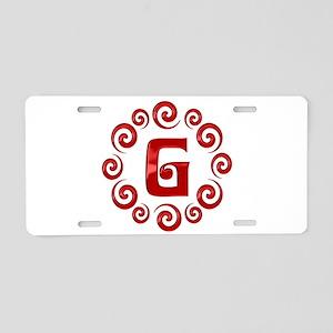 Red G Monogram Aluminum License Plate