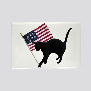 Cat American Flag Rectangle Magnet