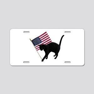 Cat American Flag Aluminum License Plate