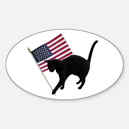 Cat American Flag Sticker (Oval)