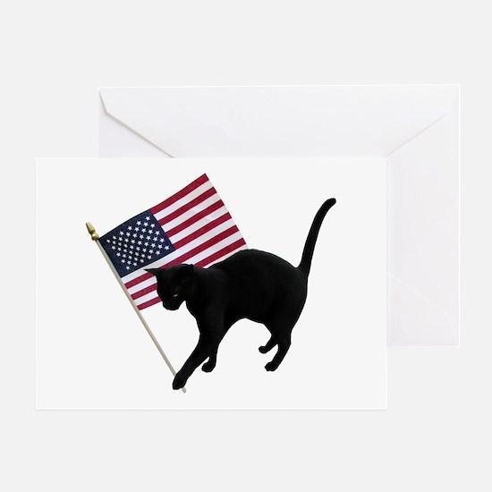 Cat American Flag Greeting Card