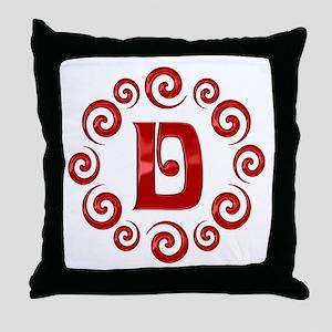 Red D Monogram Throw Pillow