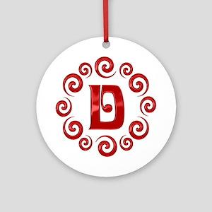 Red D Monogram Ornament (Round)