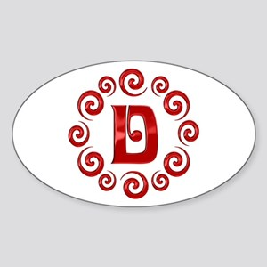 Red D Monogram Sticker (Oval)
