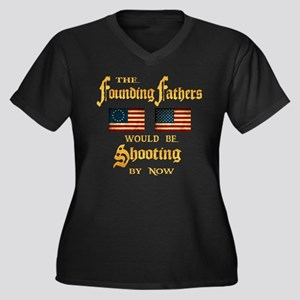 Founding Fathers Shooting Women's Plus Size V-Neck