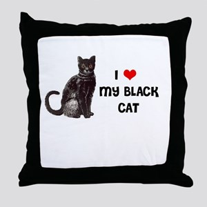 I Love Heart My Black Cat Throw Pillow