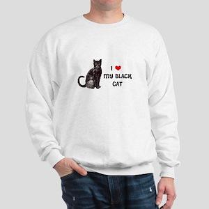 I Love Heart My Black Cat Sweatshirt