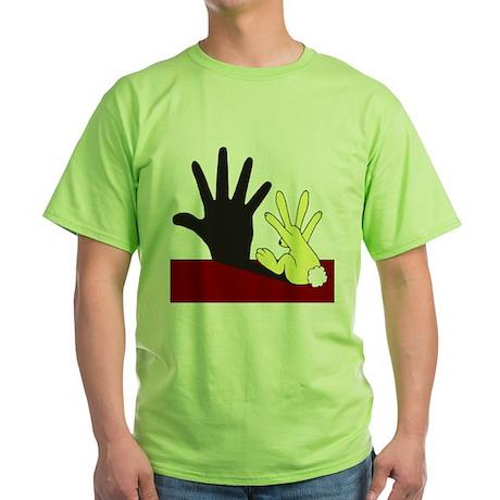 Rabit Casts a Wall Shadow Green T-Shirt