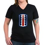 197th Infantry Women's V-Neck Dark T-Shirt