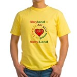 Maryland is Marry-Land Yellow T-Shirt