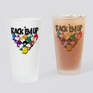 Rack Em Up Pool Drinking Glass