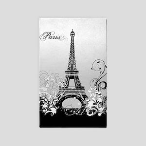 Eiffel Tower Paris (B/W) Area Rug