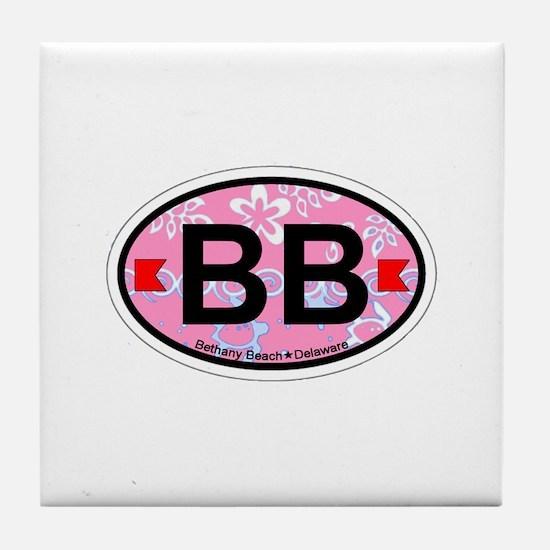Bethany Beach DE - Oval Design. Tile Coaster