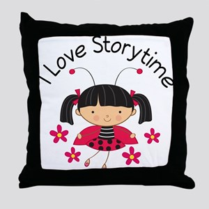 I Love Storytime Reading Throw Pillow