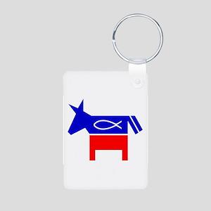 Christian Fish Dem Donkey Aluminum Photo Keychain