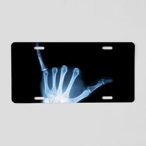 Shaka Sign X-Ray (Hang Loose) Aluminum License Pla