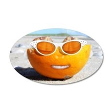 Beached Orange fun in the sun 22x14 Oval Wall Peel