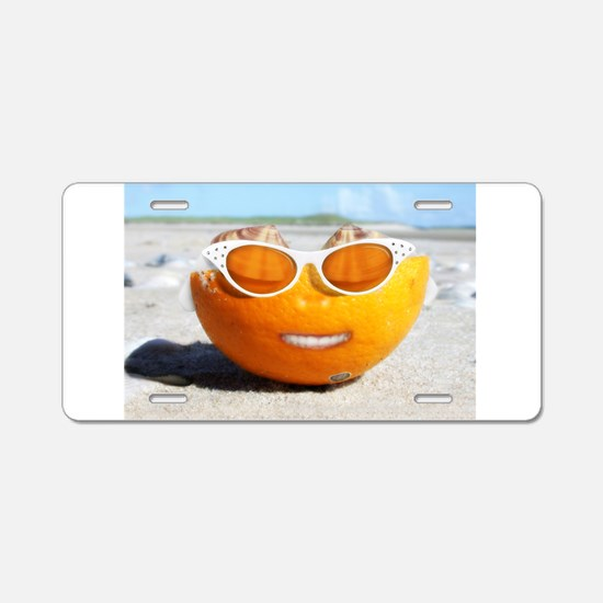 Beached Orange fun in the sun Aluminum License Pla