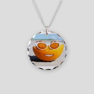 Beached Orange fun in the sun Necklace Circle Char