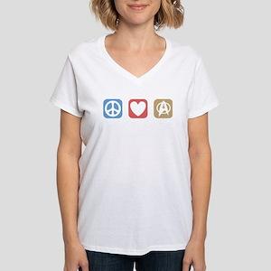 Peace Love Star Trek Women's V-Neck T-Shirt
