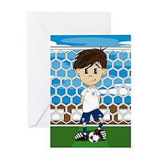 England Soccer Boy Greeting Card