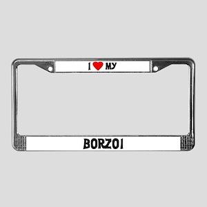 I Love My Borzoi License Plate Frame