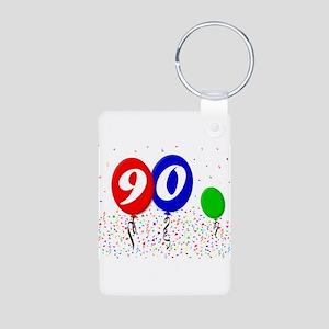 90th Birthday Aluminum Photo Keychain