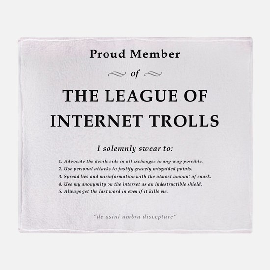League of Internet Trolls Throw Blanket